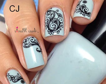 Nail art stickers etsy 1 sheet arabesque pattern nail water decals transfers sticker nail art sticker etsy prinsesfo Choice Image