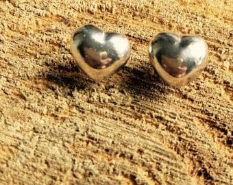 Big heart silver stud earrings