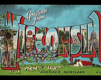 Wisconsin Greetings Postcard 1945 Large Letter Scenic America's Dairyland WI PC