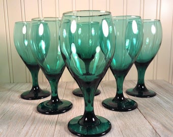Vintage Green Glassware, Libbey Juniper Teardrop Green Glass Goblets, Teal Green Stemware, Libbey Rock Sharpe Set of 6 Green Wine Glasses