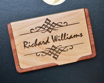 Personalized Engraved business card holder, Custom Business Card Holder, Maple Rosewood holder, Monogram Card Holder, Engraved, BC 005