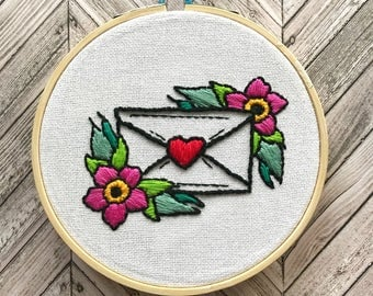 love letter hand embroidery // hand stitched // floral // embroidery hoop