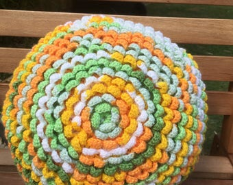 Crochet flower round cushion