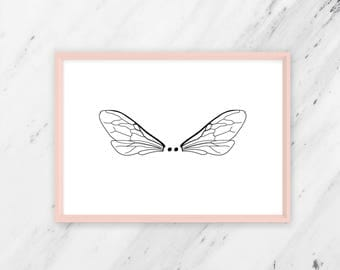Wings, instant download, wall art, printable art, poster, minimal print, minimalistic, neutral, black and white print, wings print