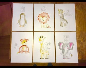Set of 6 A4 animal paintings for nursery