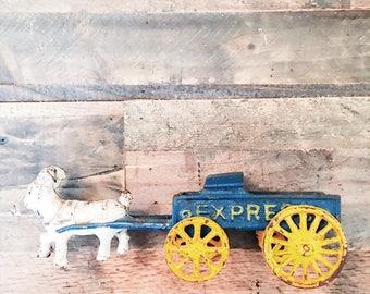 1800s Cast Iron Express Wagon w/ Goat