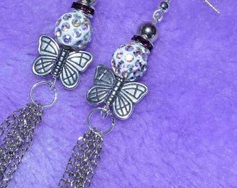 Silver Chain Tassel Butterfly Earrings