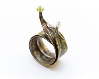 SilverBronze Laurus Nobilis Ring