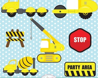 ON SALE Construction Clipart Equipment Cement Trucks Dump Truck Excavator Crane Bulldozer Signs Under Construction Party Printable Vector EP