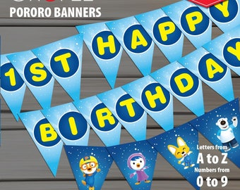30% OFF Pororo Printable Banners - Pororo Pennants - Pororo Bunting Flag - Pororo Birthday Party Decoration - INSTANT DOWNLOAD