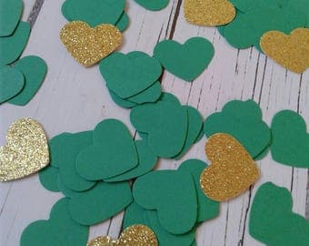 Green bridal shower decorations, paper confetti, heart confetti, wedding confetti, paper hearts, gold glitter confetti, party confetti.