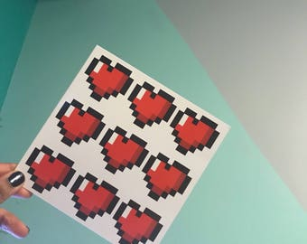 Pixel Heart Card - Pixel Heart Valentine - Minecraft hearts - Valentine for gamer
