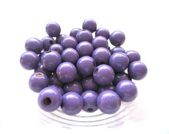 50 wooden pacifier clip 8mm - purple beads