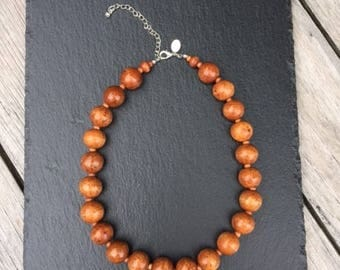 Necklace of wooden beads. Vintage necklace.
