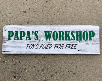 Barnwood sign, Papa's Workshop sign, Rustic home decor, Father's Day gift, Man Cave decor