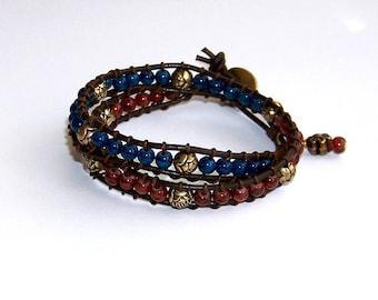 Bordeaux and Blue Leather Wrap Bracelet Women Boho Hippy Style