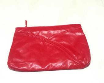 Red Leather Envelope Clutch Purse C8