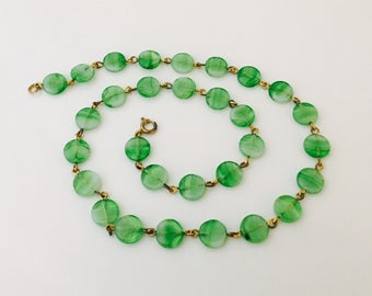 1950s Green Straited Glass Beaded Metal Necklace, Single Strand Round Flat Bead Necklace