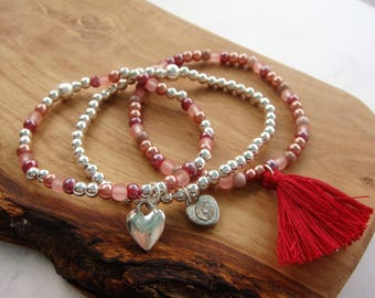Set of beaded stacking bracelets, stacking bracelets, beaded bracelets, gifts for her