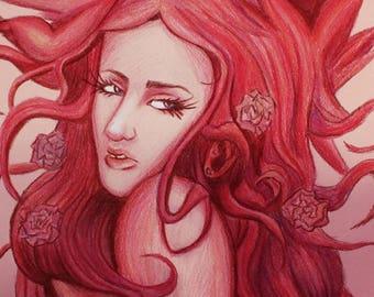 Peach Colored Pencil Fantasy Portrait