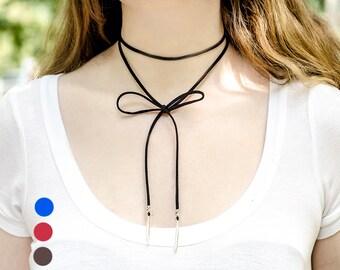 Boho Necklace Leather Lariat Necklace Wrap Necklace Wrap Choker Necklace Long and Layered Necklace Red Lariat Blue Necklace Tie Necklaces
