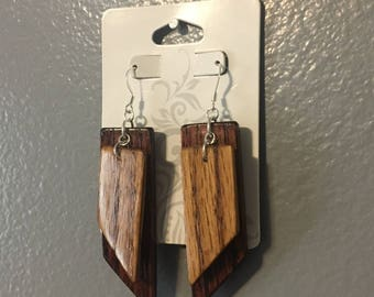 Wood Dangle Earrings (two-tone)