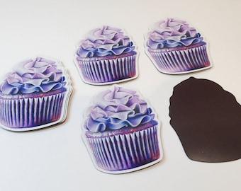 Purple Cupcake Magnet - Fridge Magnet - Wall Art - Decor - Locker Decor