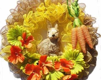 Wreaths Easter Mesh Door Hangers Spring Decor Yellow Orange Meadow Wall Decor Bunny Flowers Decorations Carrots