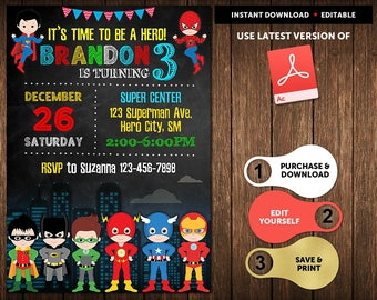 superhero invitation instant download superhero birthday invitation superhero party invitation birthday invitations for - Superhero Birthday Party Invitations