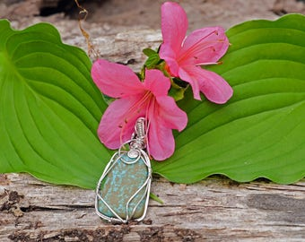 Sterling Silver Wire Wrapped Sleeping Beauty Turquoise Pendant