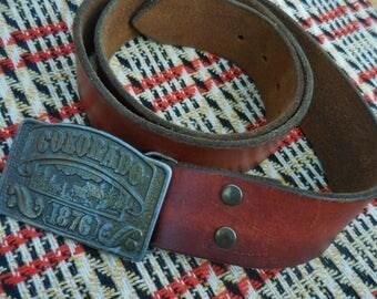 Vintage 70s Wide Brown Leather Belt Size XL -&- Vintage Heavy Brass Belt Buckle-COLORADO 1876 -CDC Association -Made in Colorado -Log Cabin