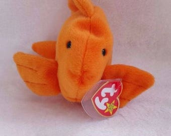 Rare Beanie Baby Goldie the Gold Fish Mint 4th/4th Generation Tag Error on the Tush tag