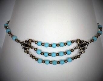 Handmade magnesite and bronze bead necklace