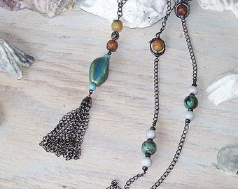 Handmade lariat drop pendant necklace