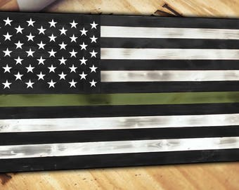Thin Green Line Wooden American Flag Distressed Torn Burnt Rustic Large Army Military Marines