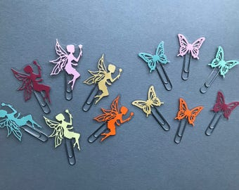 Planner clips, paperclips, paper clips, bookmarks, paperclip bookmarks, fairy clips, butterfly clips, page markers, paperclip page markers,