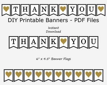 Thank You Banner - Black & Gold - Heart - Wedding Photo Prop - DIY Printable - INSTANT DOWNLOAD