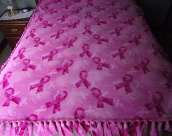 Pink breast cancer awareness blanket