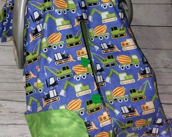 Construction Trucks Car Seat Canopy With Opening/Nursing Cover