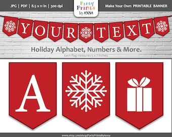 Printable Christmas Alphabet Banner, DIY Square Holiday Banner, Red and White Letters and Numbers, DIY Printable Christmas Decor, A-Z