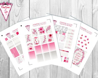 Cherry Blossom - Printable Erin Condren Weekly Kit w/Cut Line