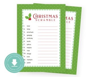 INSTANT DOWNLOAD : Christmas Party Game! ( Christmas Party Scramble, Green Swiss Dots, Christmas Game, Party Scramble Activity  )