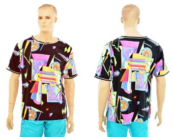 80s/90s neon designer T-SHIRT size 48 / mens L large or womens XXL / abstract design / 100% cotton