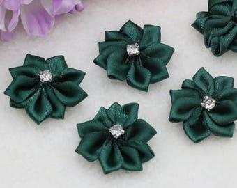 5pcs, Beige Satin Ribbon Crystal Flower, Beige Ribbon Flower Applique, Beige Satin Flower Applique, 25mm (1 inches), USA Seller,