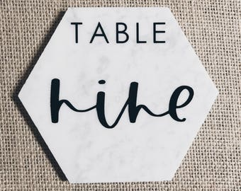 6 Inch Hexagon Marble Table Numbers // Hand lettered // Vinyl // Calligraphy