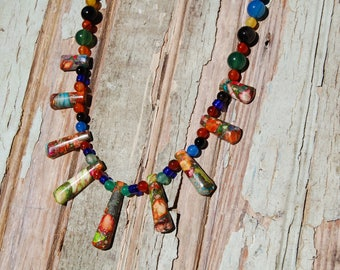 Unakite and Rainbow Agate Necklace & Earring Set