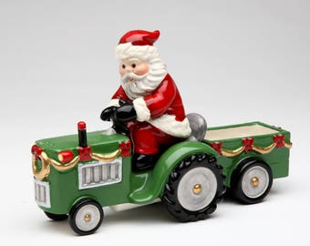 Santa on a Tractor Salt and Pepper Shaker and Box (Set of 3) (10517)