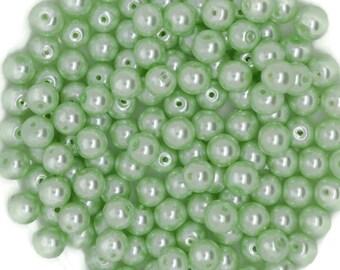 mint green glass beads, green glass beads, light green glass beads, 8mm mint green glass beads, mint green glass beads 8mm,