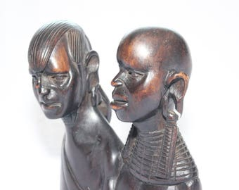 African Hand Carved Ebony Wooden Busts