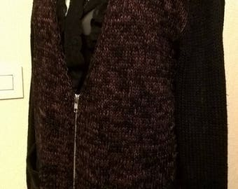 Cardigan in cotton and acrylic black and Red mottled